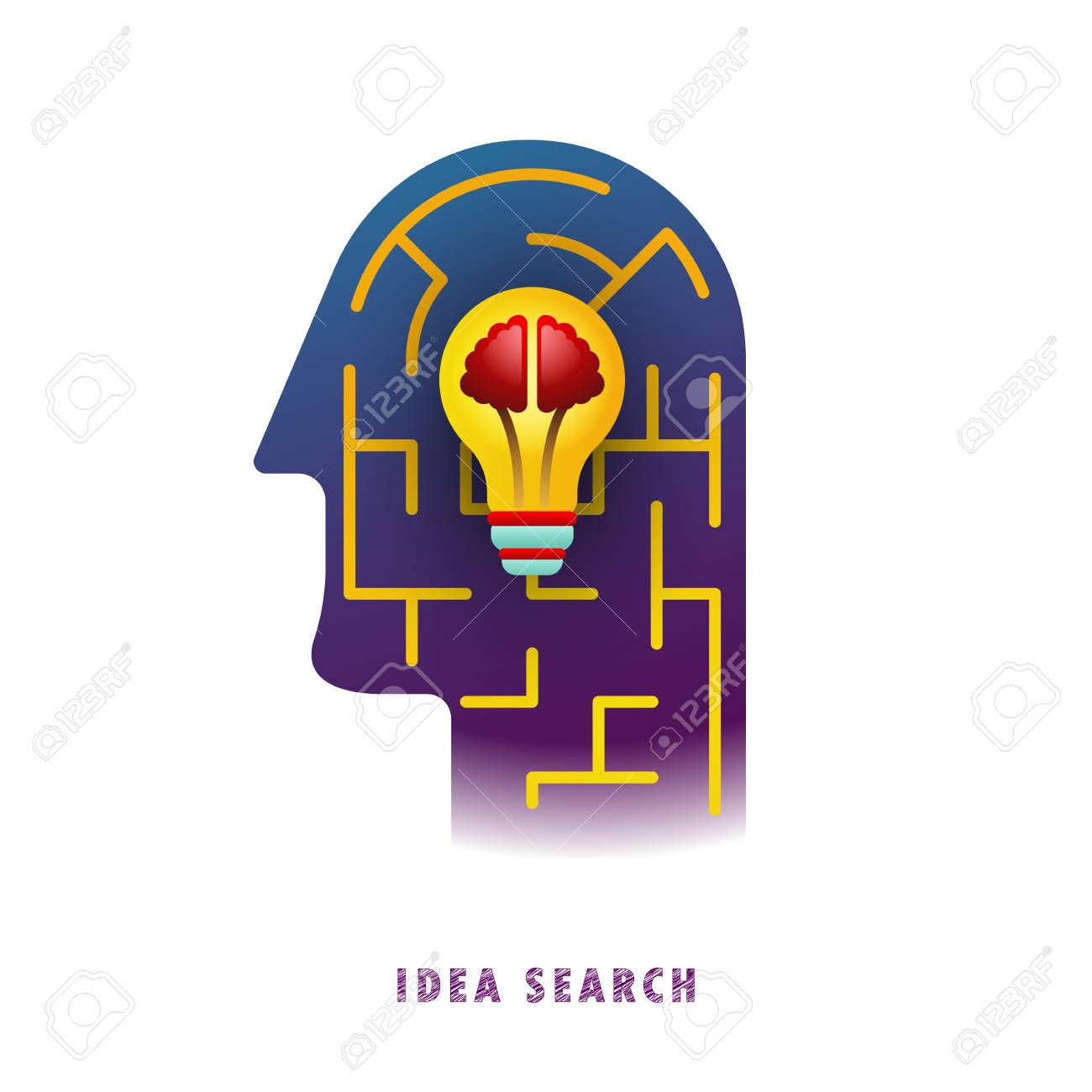 Idea search. Lamp in the maze. Vector illustration. Flat. Gradient. - 104062228