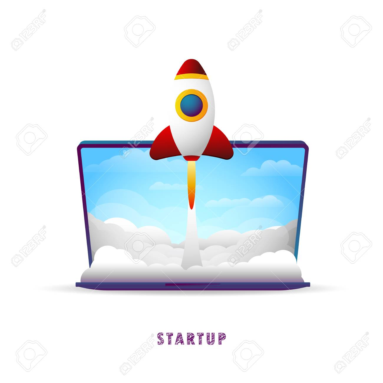 Startup. The rocket takes off from the laptop. Vector illustration. Flat. Slope. Transparent background - 104062232