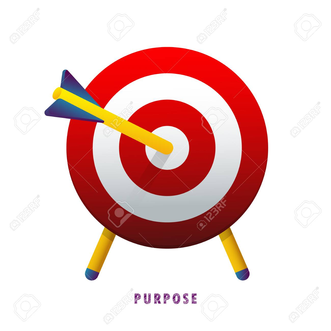 Purpose. The arrow in the target. Vector illustration. Flat. Gradient. - 104062236