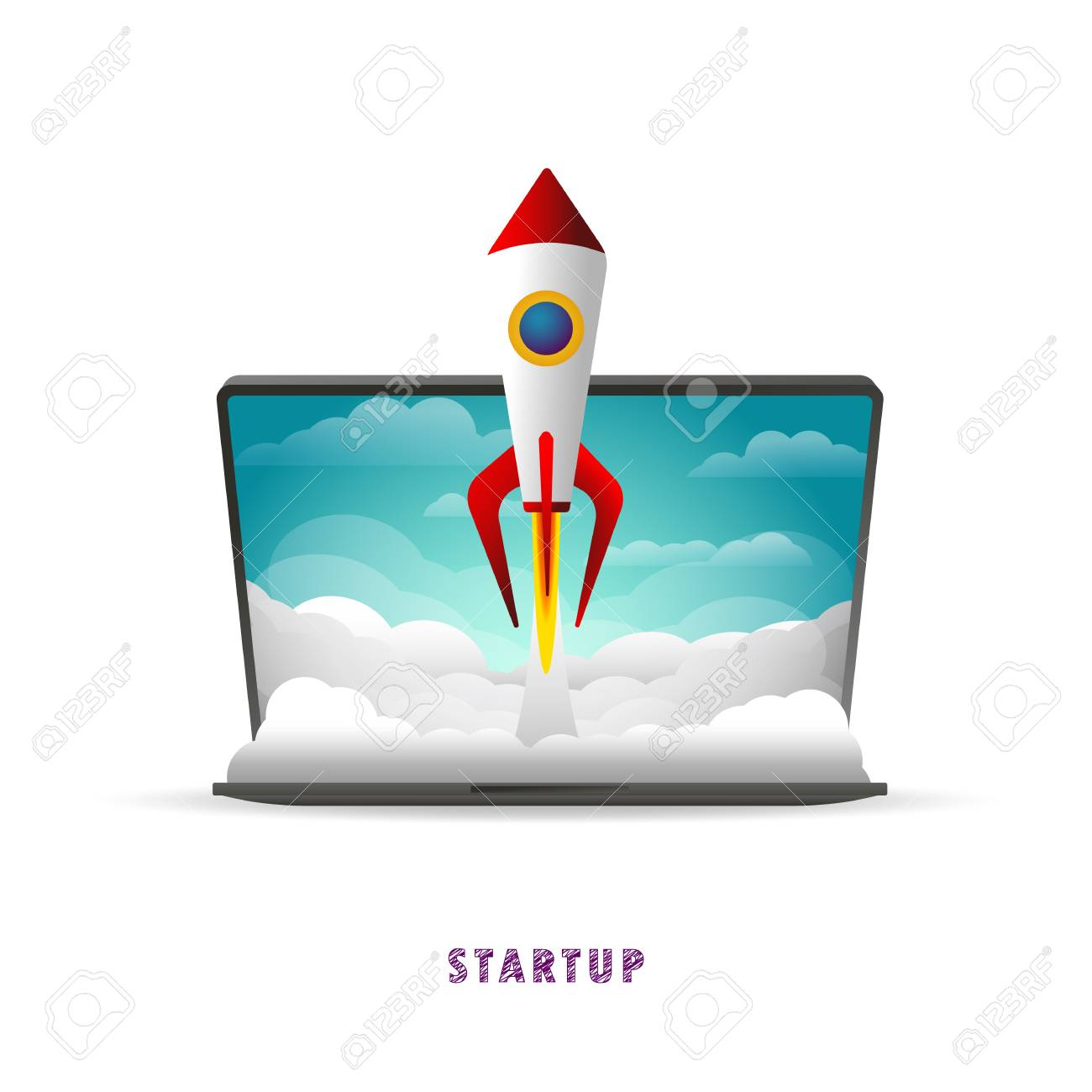 Startup. The rocket takes off from the laptop. Vector illustration. Flat. Slope. Transparent background - 104062237
