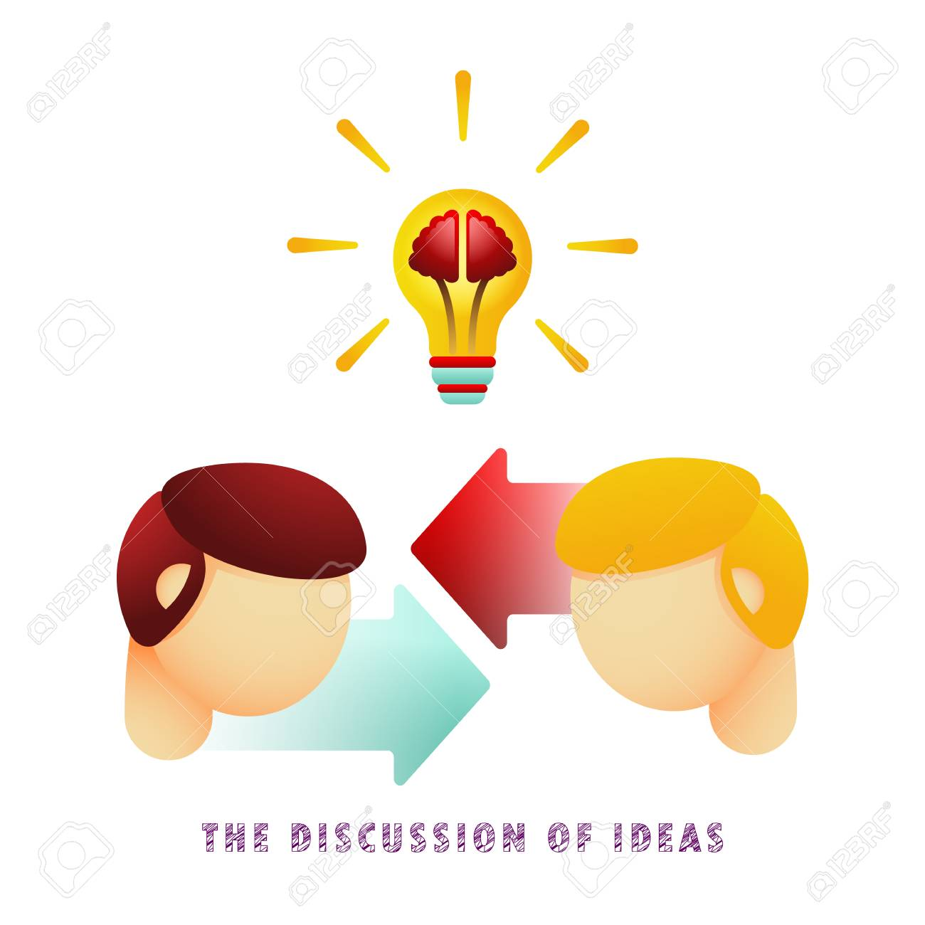The discussion of ideas. Icon. Light bulb with brain. Vector illustration. Flat. Gradient. - 104062241