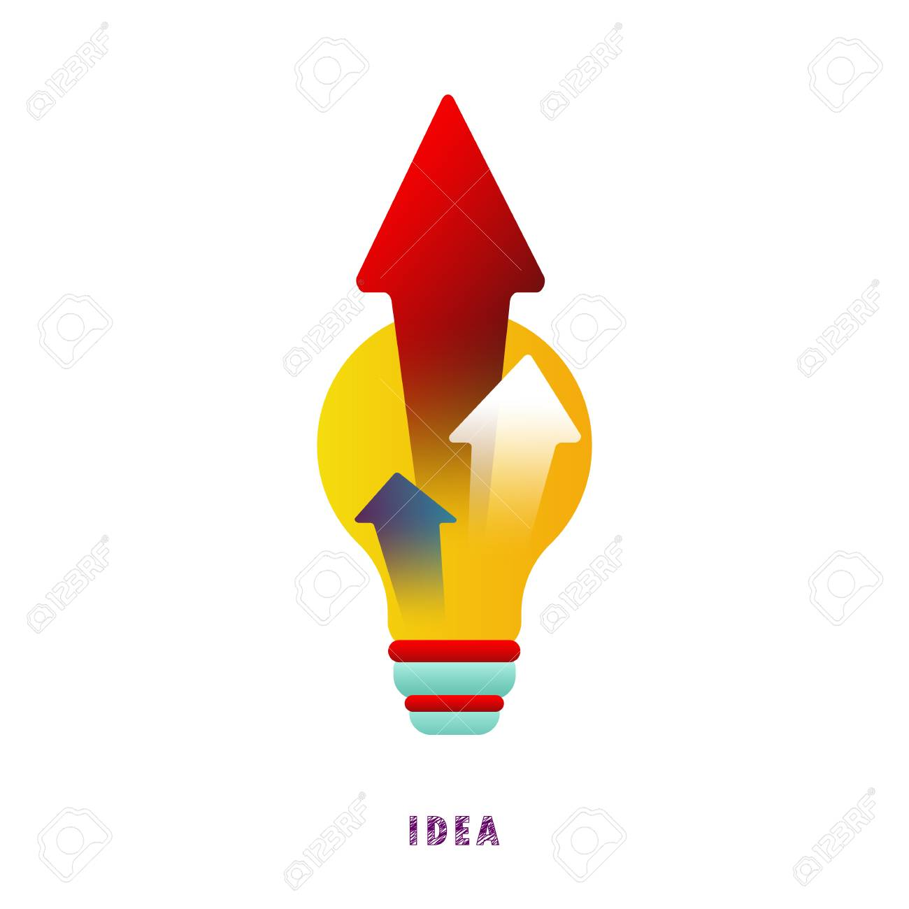 Idea. Arrows from the lamp. Vector. Flat. - 104062246