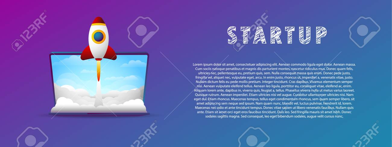 Startup. The rocket takes off from the laptop. - 104886382