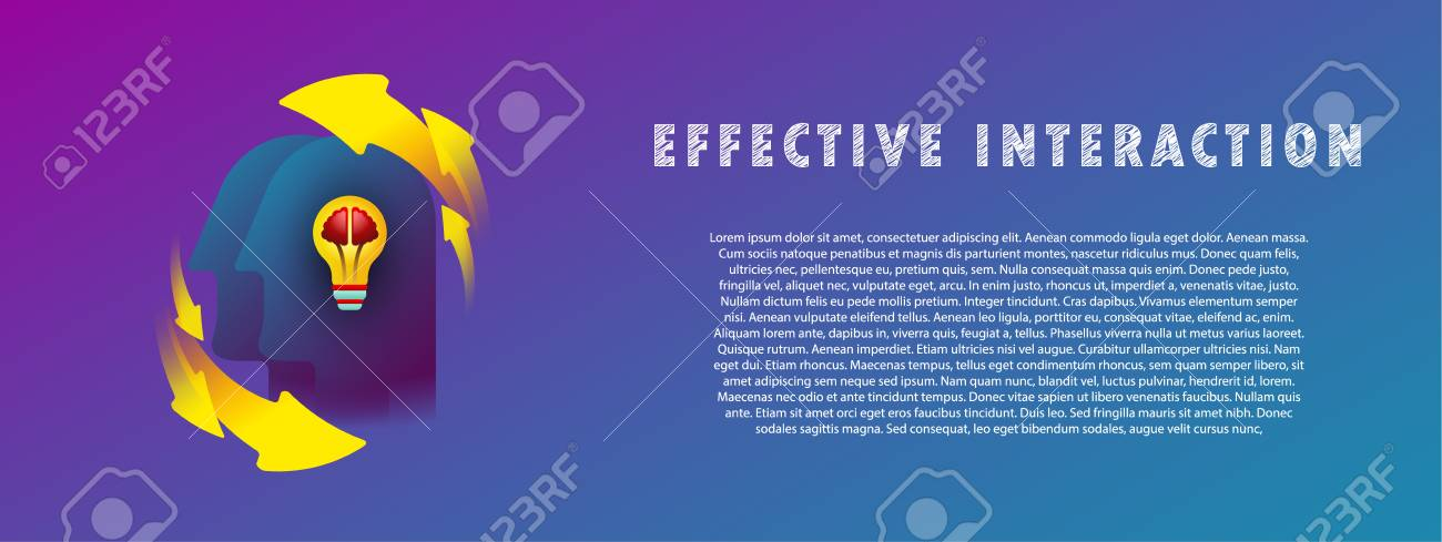 Effective interaction. General knowledge. Thought-out idea. Light bulb with brain. - 104886384