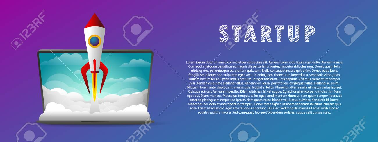 Startup. The rocket takes off from the laptop. - 104886391