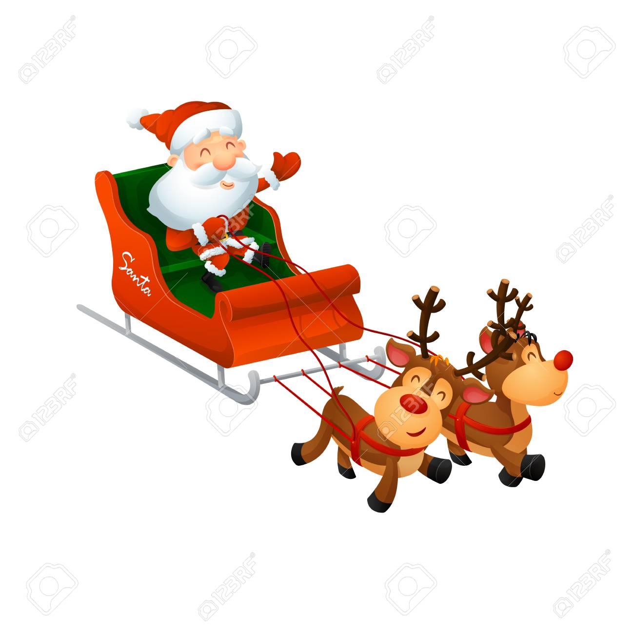 Cartoon cute Santa Claus on a sleigh with funny reindeer. On a white background, cartoon, vector illustration. - 112717772