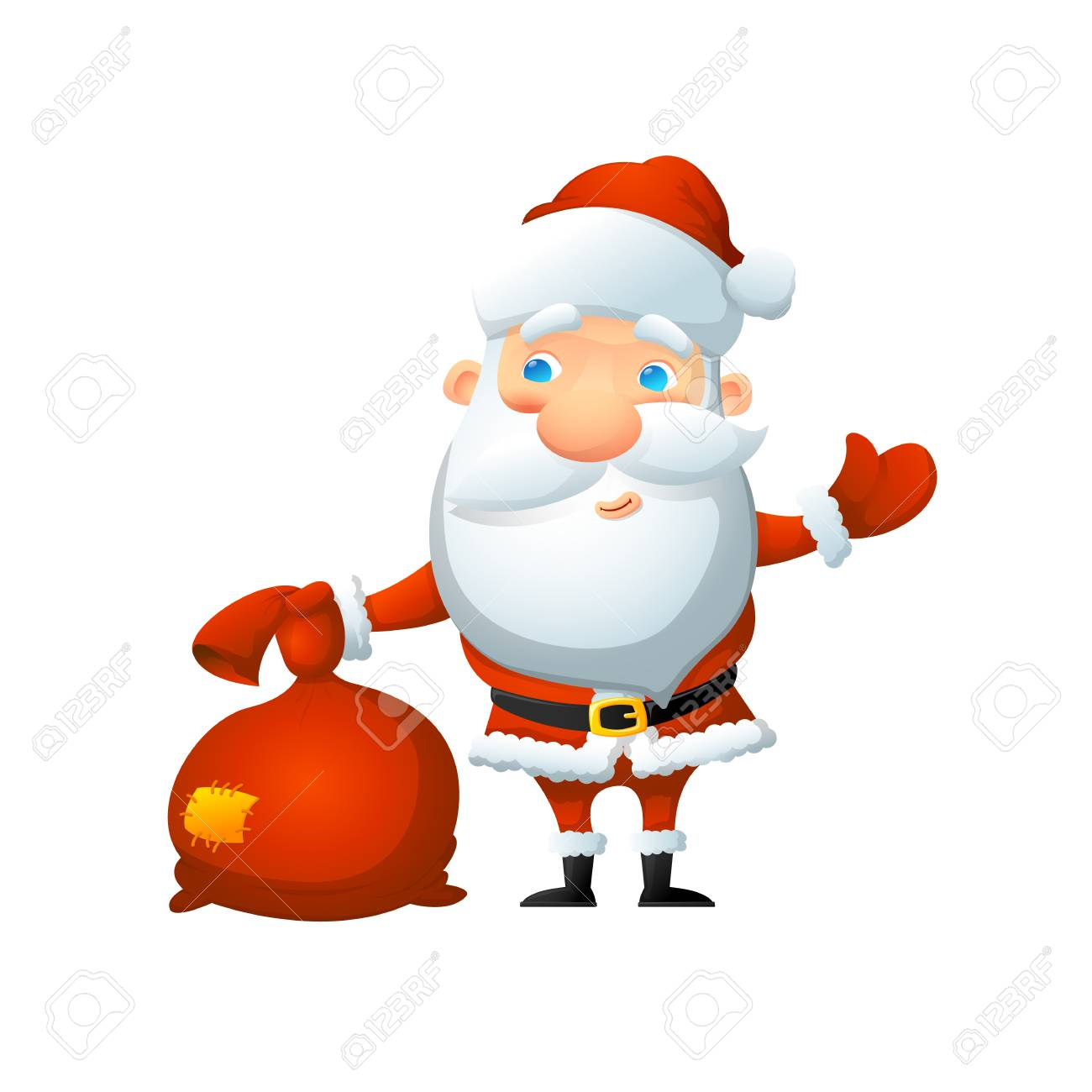 Cartoon cute Santa Claus, with a bag of gifts in his hand. On a white background, cartoon, vector illustration. - 112717773