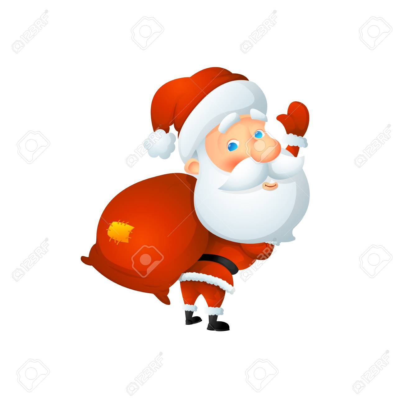Cartoon cute Santa Claus waving with a bag of gifts behind his back. On a white background, cartoon, vector illustration. - 112717774