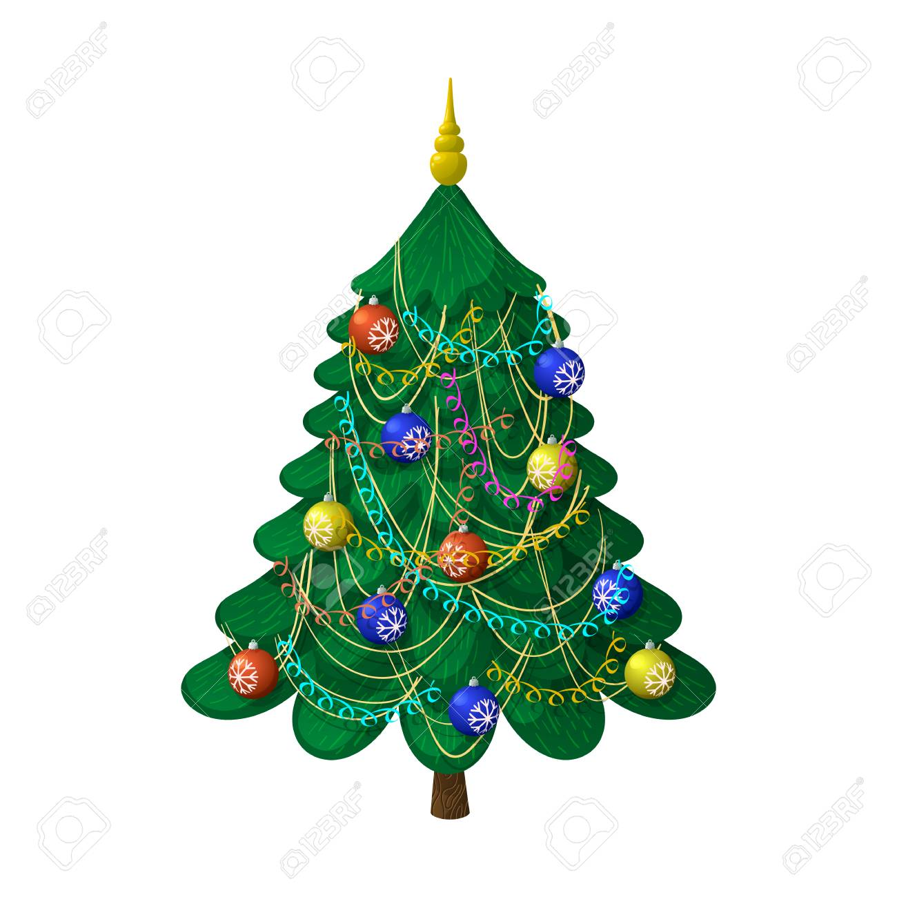 Christmas tree with decorations. On a white background, cartoon,..