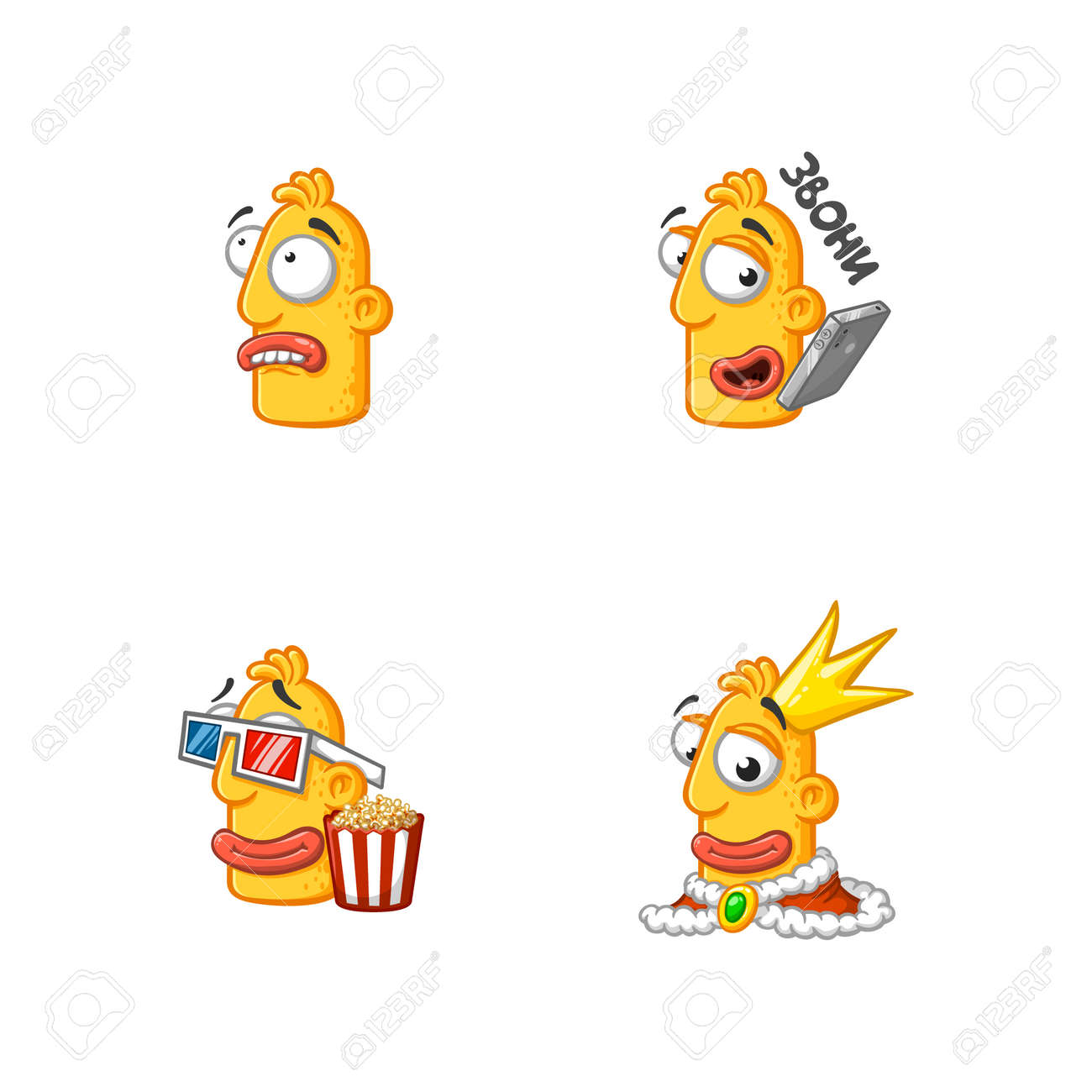 Set of special funny cartoon stickers character head, yellow color, with large lips and eyes in a vector on a white background. - 159029810