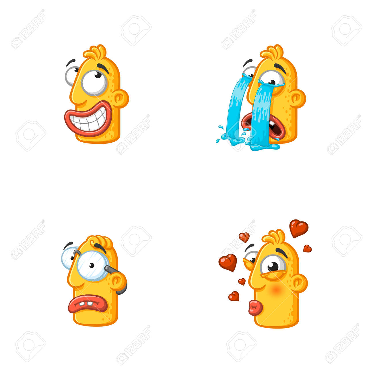 Set of special funny cartoon stickers character head, yellow color, with large lips and eyes in a vector on a white background. - 159029844