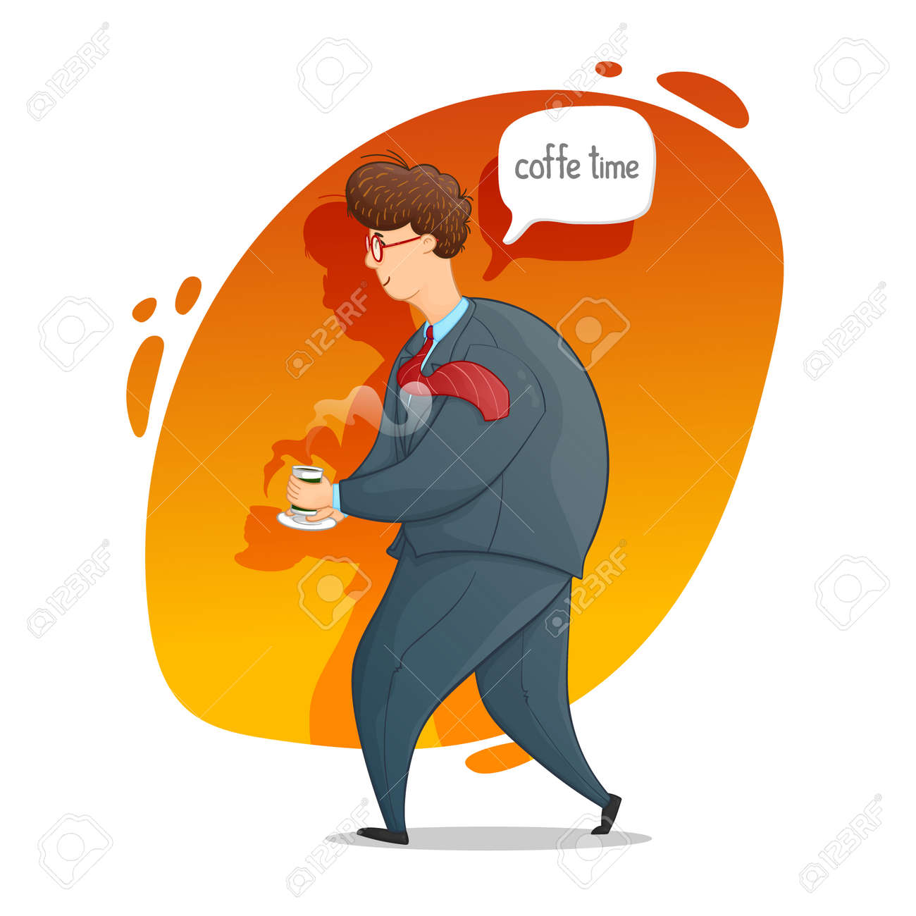 The guy with a cup of coffee. Coffee time. Cartoon contour drawing in a vector. - 159519999