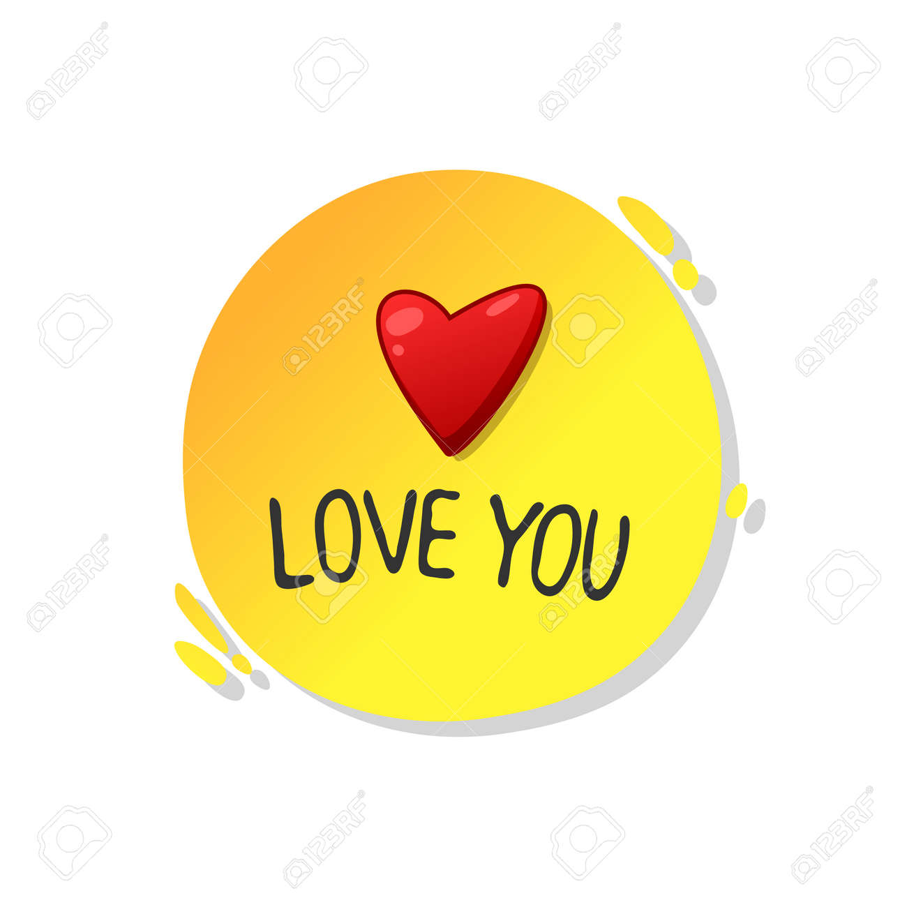 Love you, minimalistic illustration for a card.Cartoon contour illustration in a vector. - 159520016