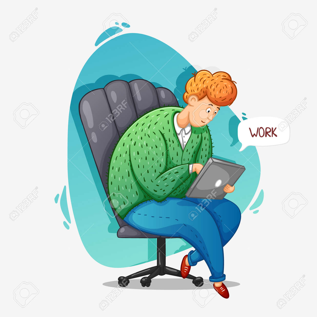 The guy works online at home. Distance work. Correspondence. Cartoon contour illustration in a vector. - 159520022