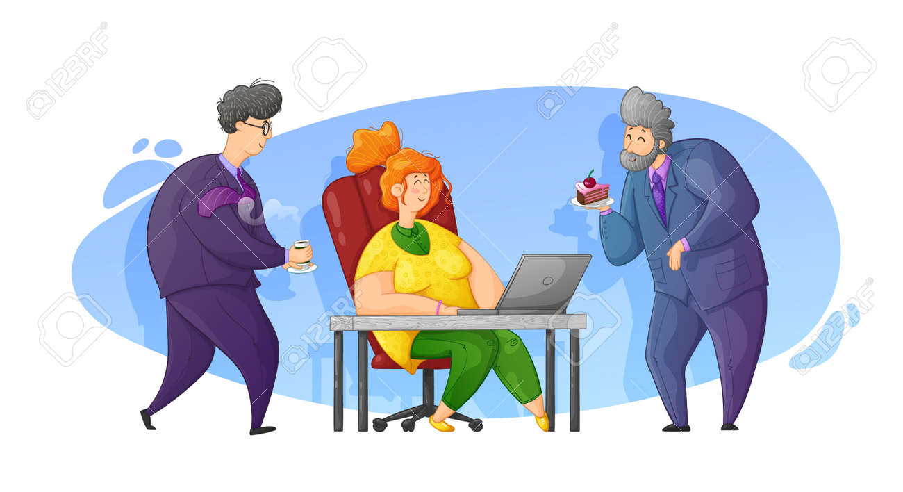 Caring for a colleague at work. Congratulations on your birthday at work. Cartoon contour illustration in vector. - 159520071