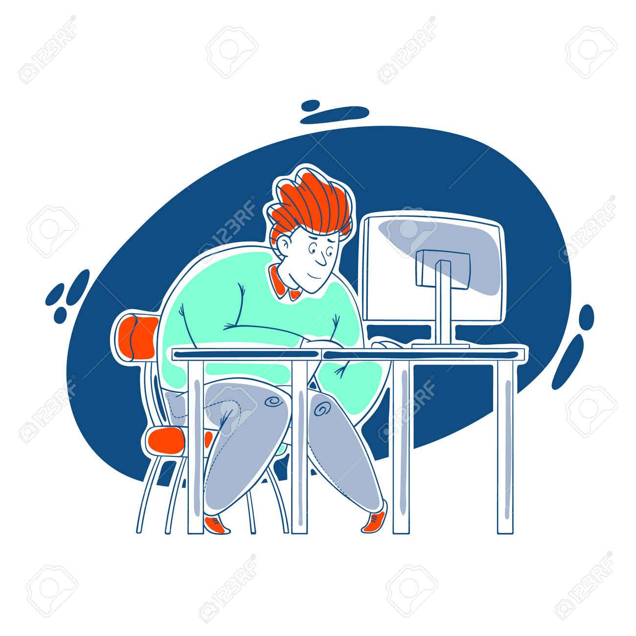 A kind, sweet, cheerful guy works hard at the computer in the office. Work in the office, deadline. Cartoon style, contour drawing in a vector. - 159580666