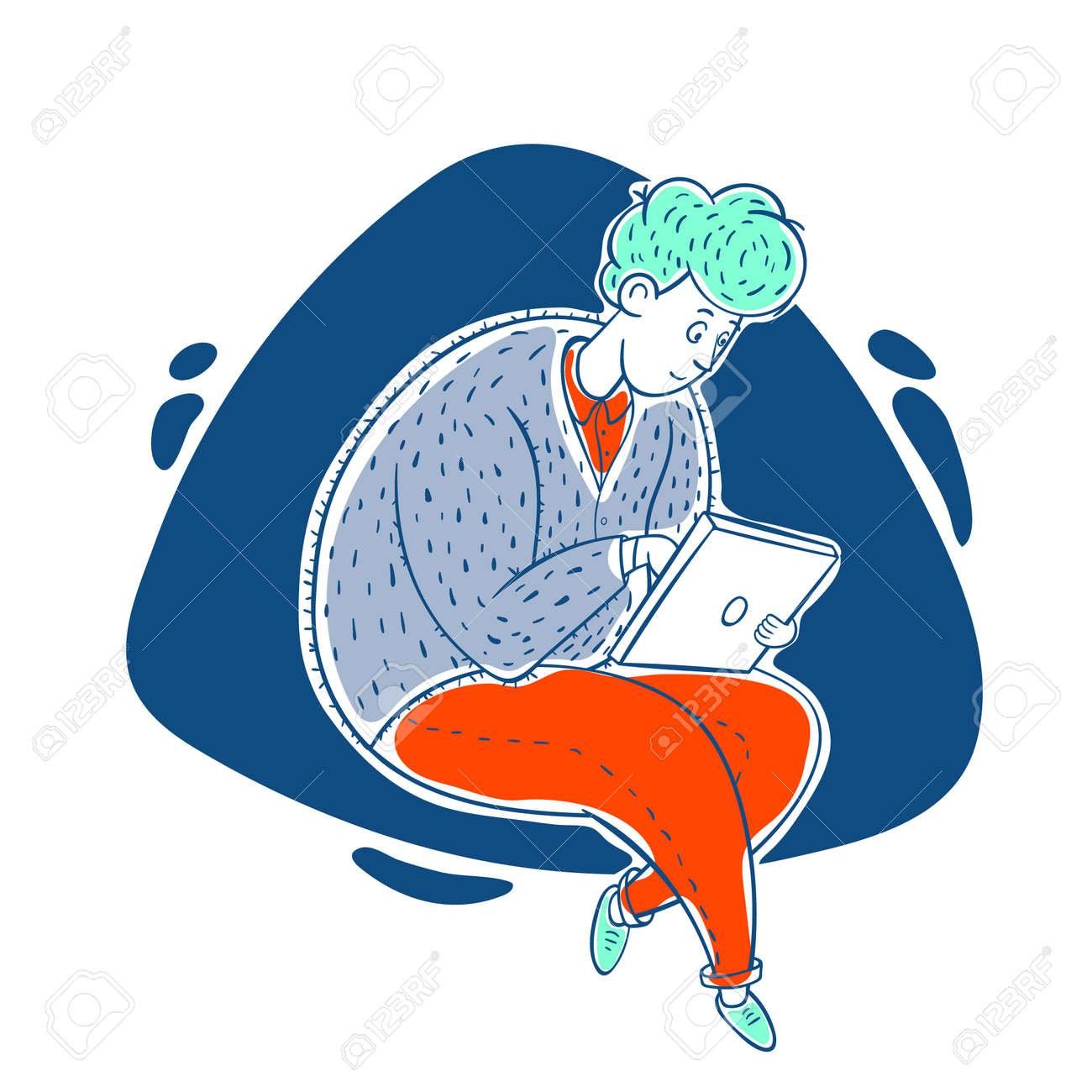 The guy works online at home. Distance work. Correspondence. Cartoon contour illustration in a vector. - 159585255