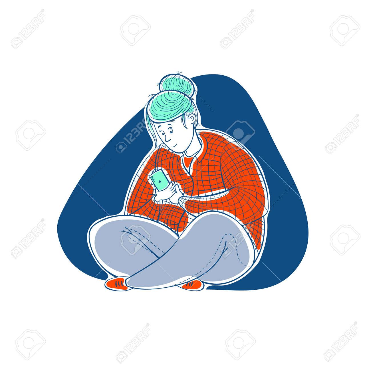 Girl corresponds in the phone. Love correspondence. Cartoon contour illustration in a vector. - 159585256