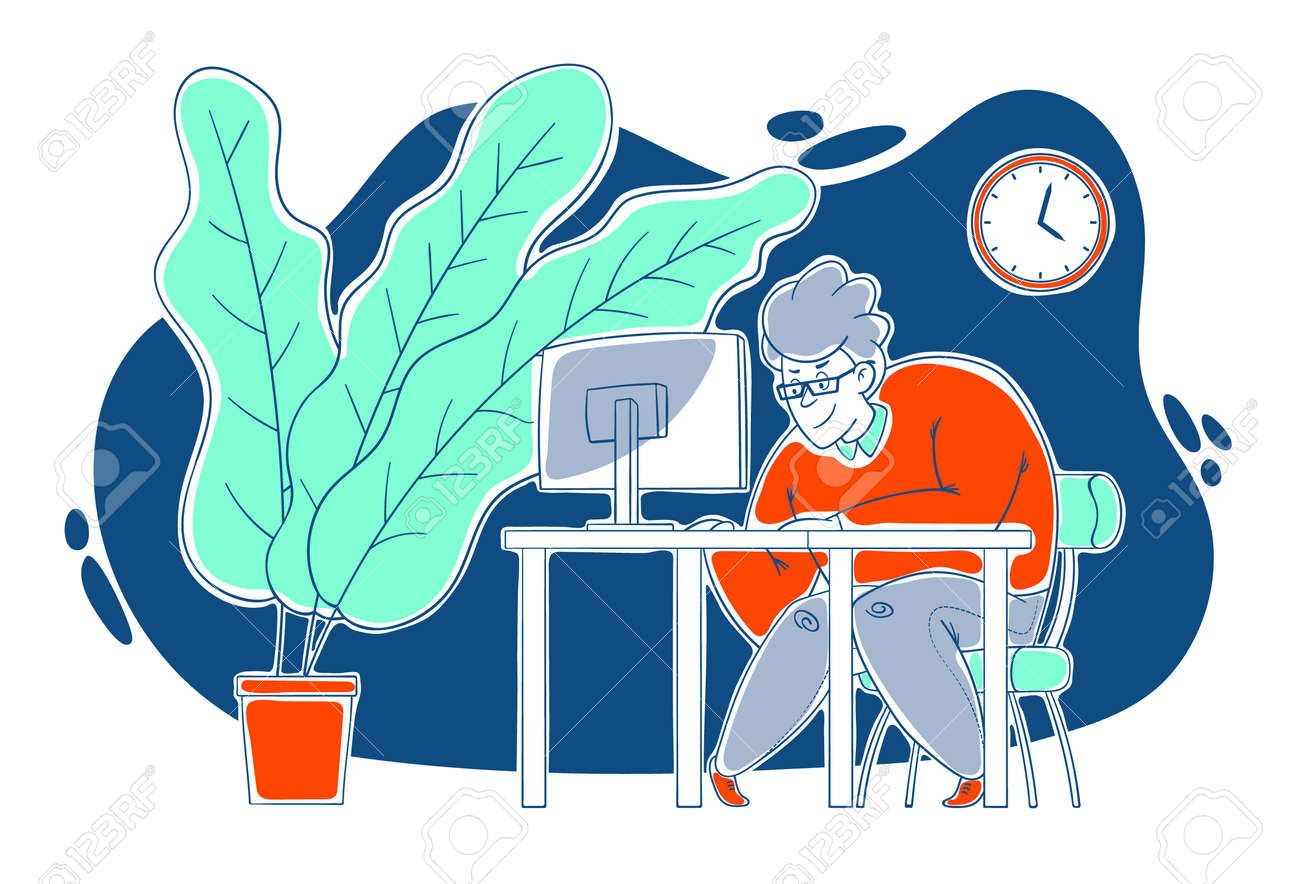 A kind, sweet, cheerful guy works hard at the computer in the office. Work in the office, deadline. Cartoon style, contour drawing in a vector. - 159580607