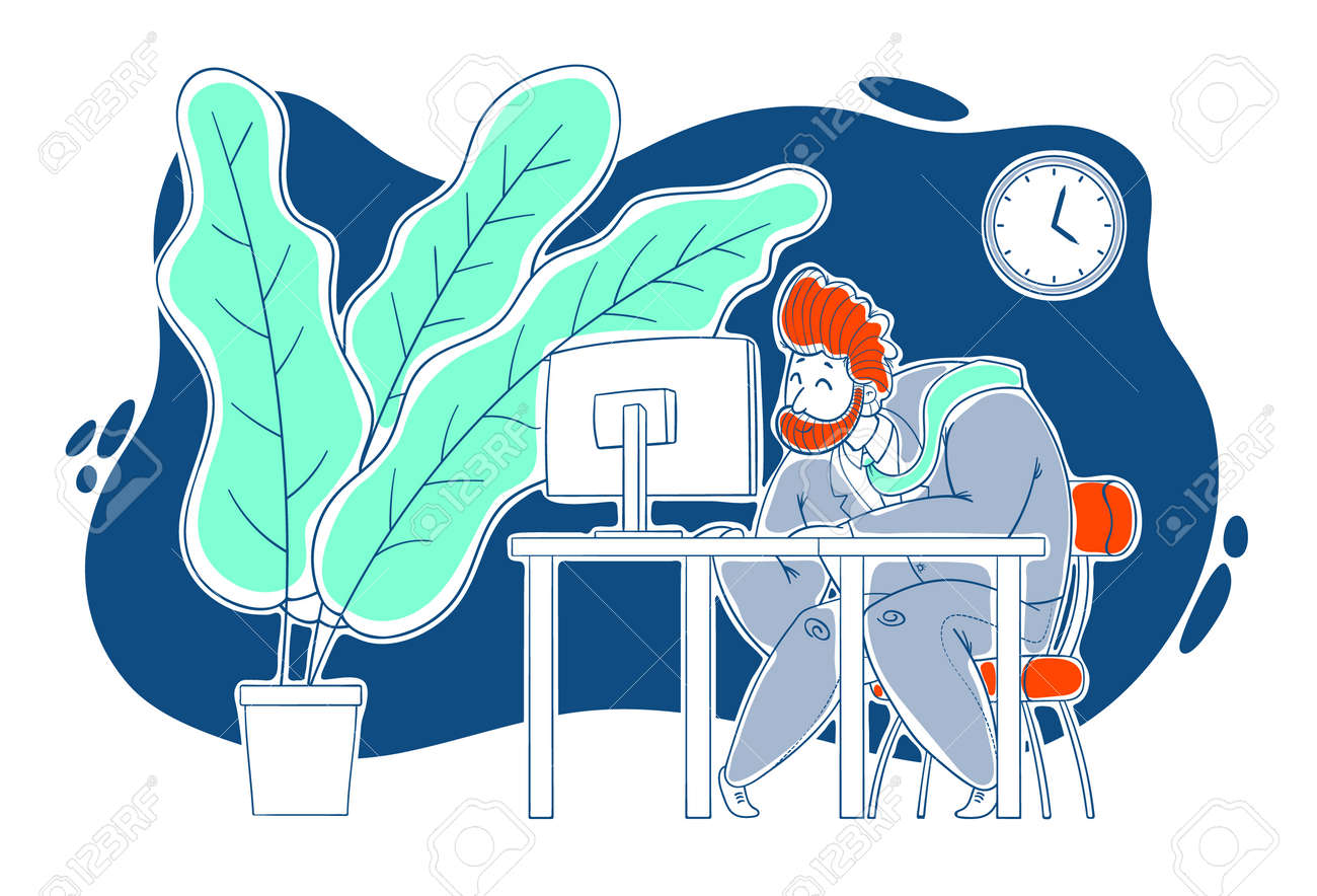 A kind, sweet, cheerful guy works hard at the computer in the office. Work in the office, deadline. Cartoon style, contour drawing in a vector. - 159581710