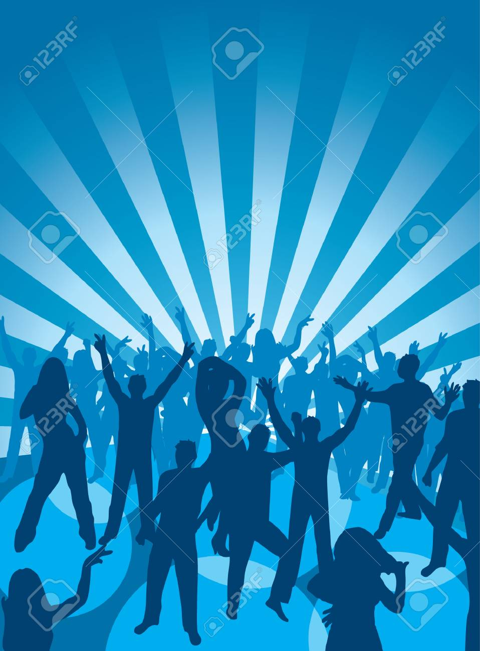 Fun dancing crowd. Vector illustration. Stock Vector - 1928757