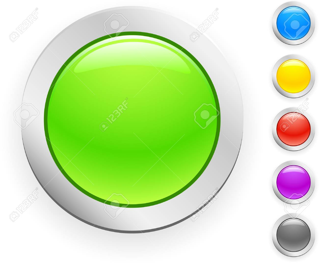 6 high-detailed buttons. Vector illustration. Stock Vector - 2151086