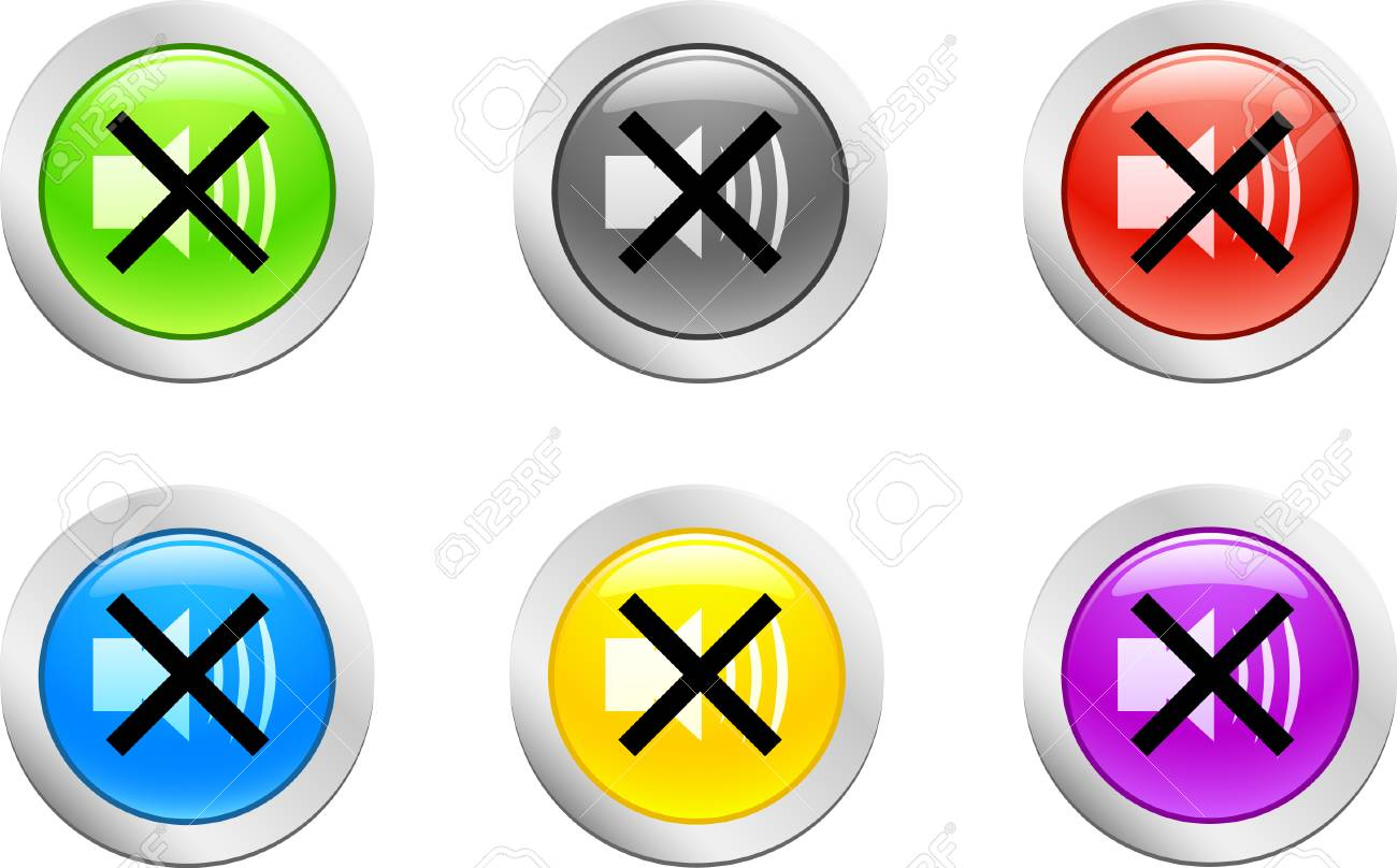 6 high-detailed buttons. Sound button.  Vector illustration. Stock Vector - 2159623