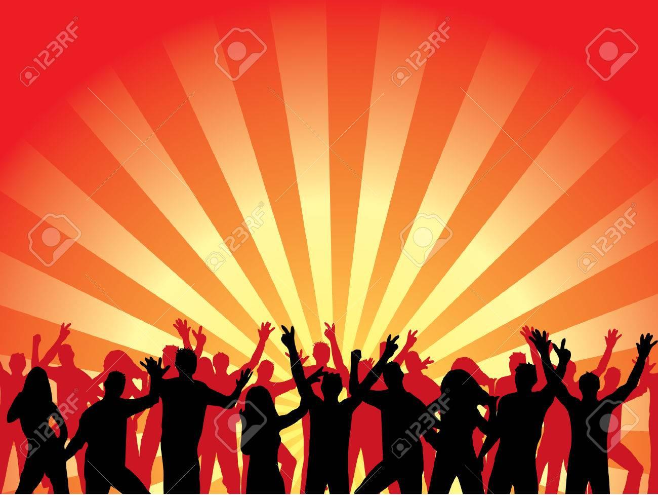 Fun dancing crowd. Vector illustration. Stock Vector - 2166806