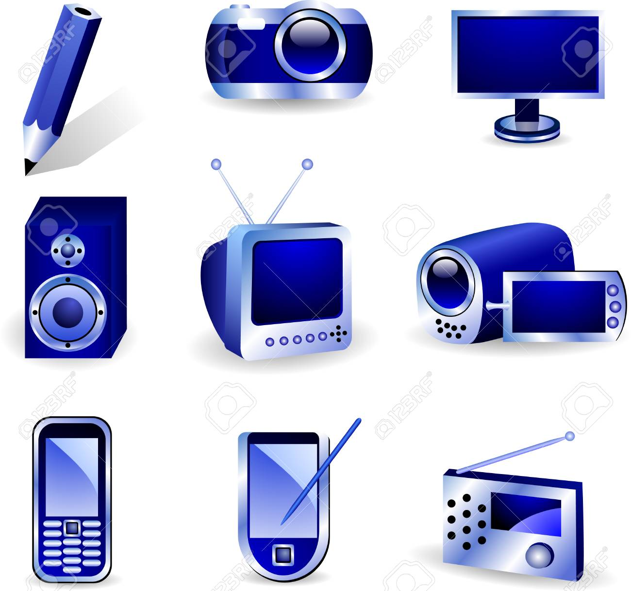 Set of nine three-dimensional vector icons. Stock Vector - 2414648
