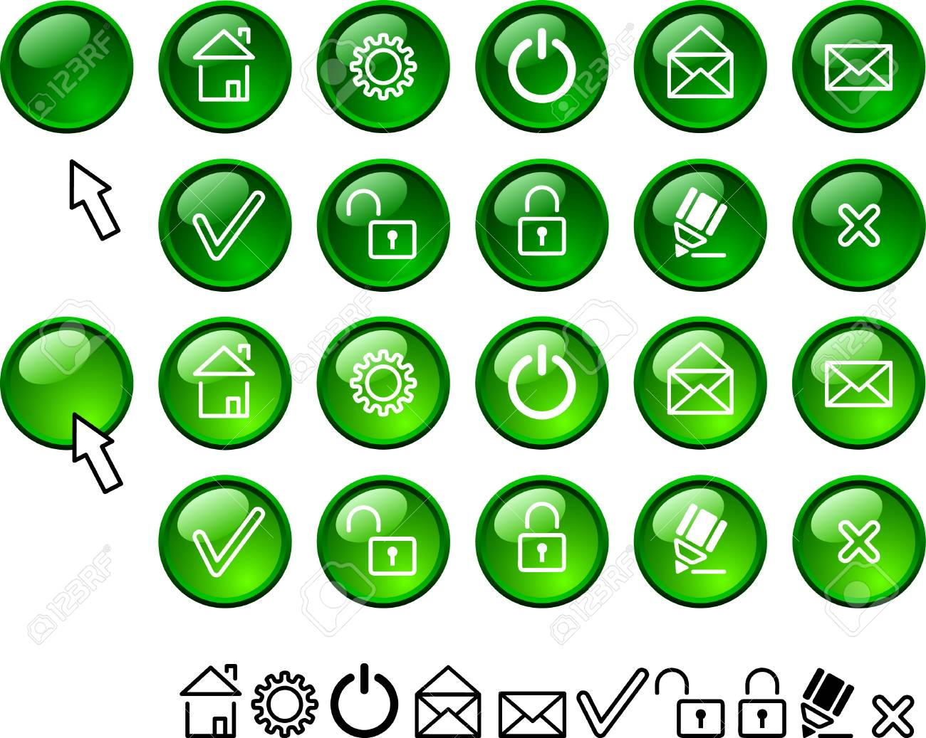 Collection of buttons. Vector illustration. Stock Vector - 2500575