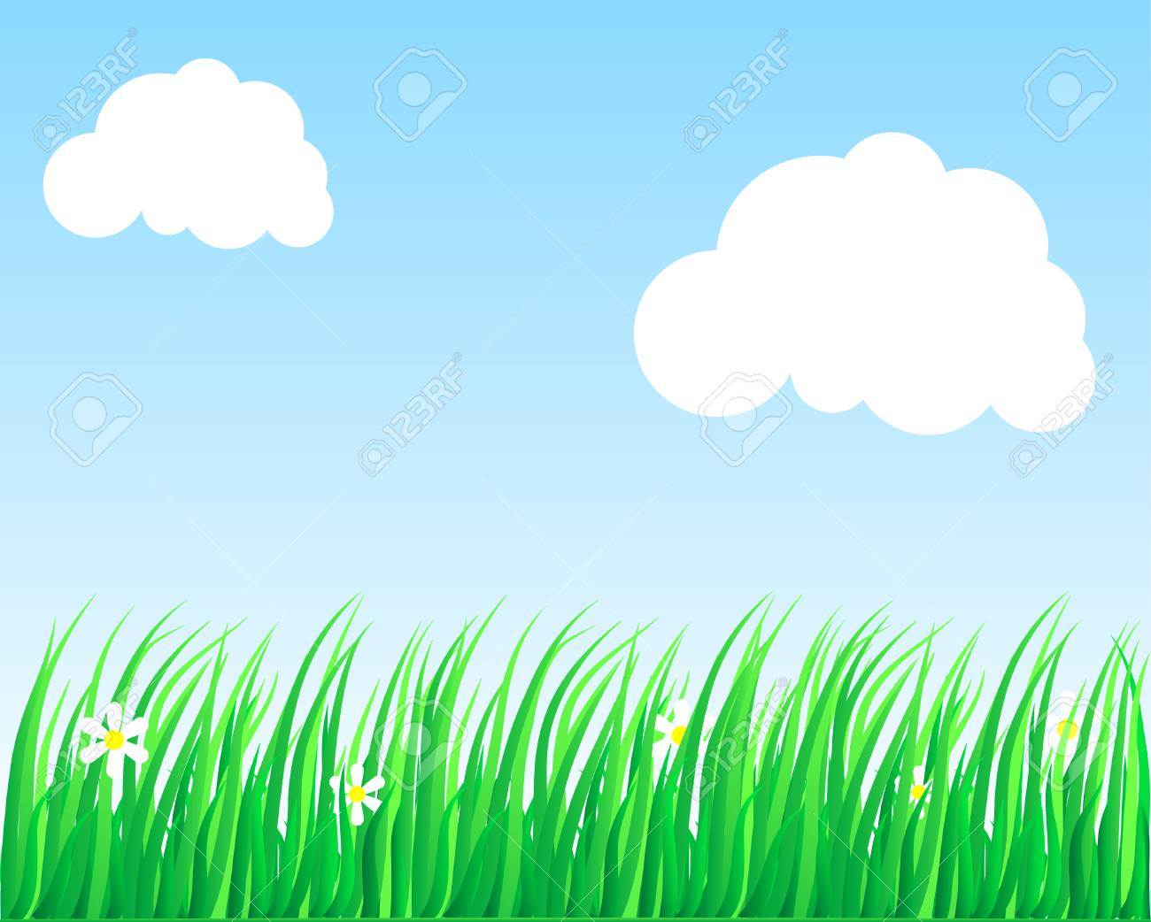 Flowers and grass. Vector illustration. Stock Vector - 2835510