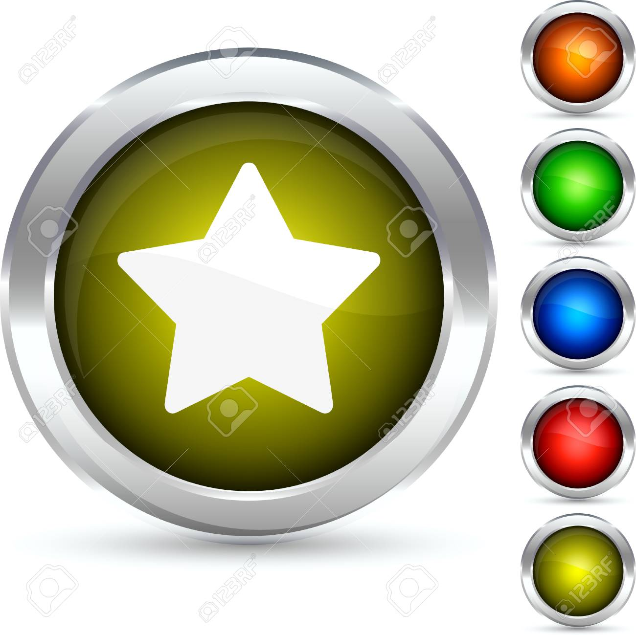 Star detailed button. Vector illustration. Stock Vector - 5298561