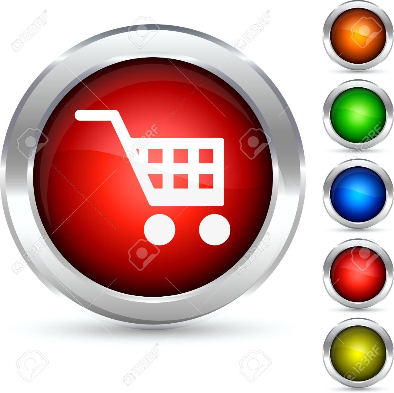 Shopping detailed button. Vector illustration. Stock Vector - 5304215