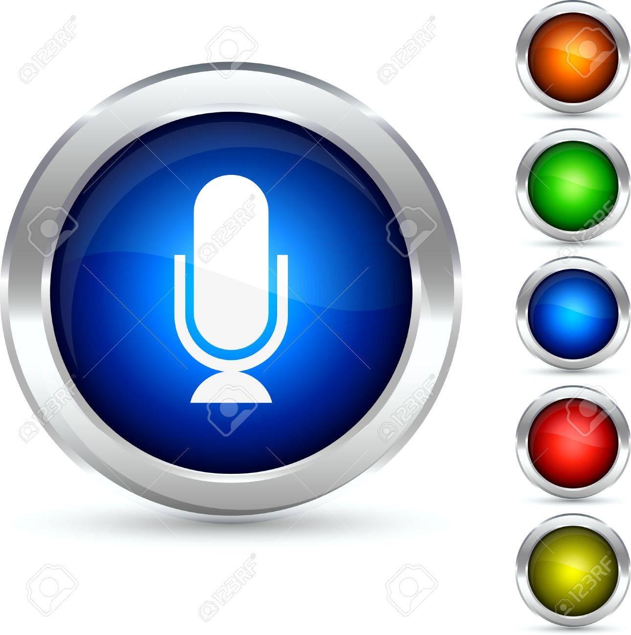 Mic detailed button. Vector illustration. Stock Vector - 5307863