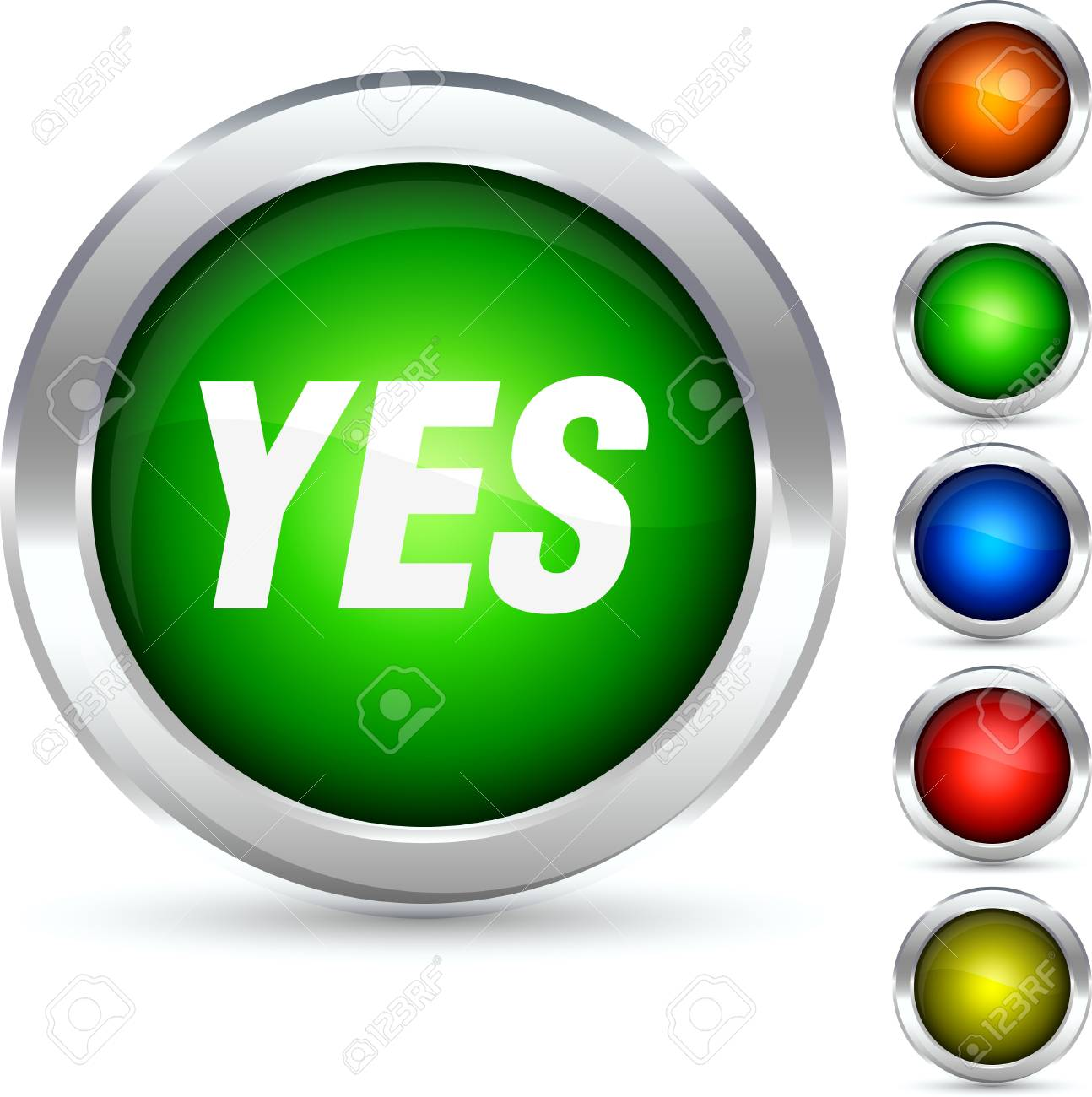 Yes detailed button. Vector illustration. Stock Vector - 5310658