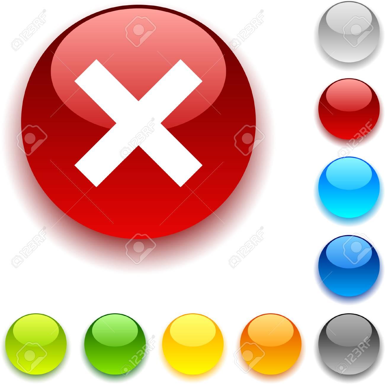 Abort shiny button. Vector illustration. Stock Vector - 5432631