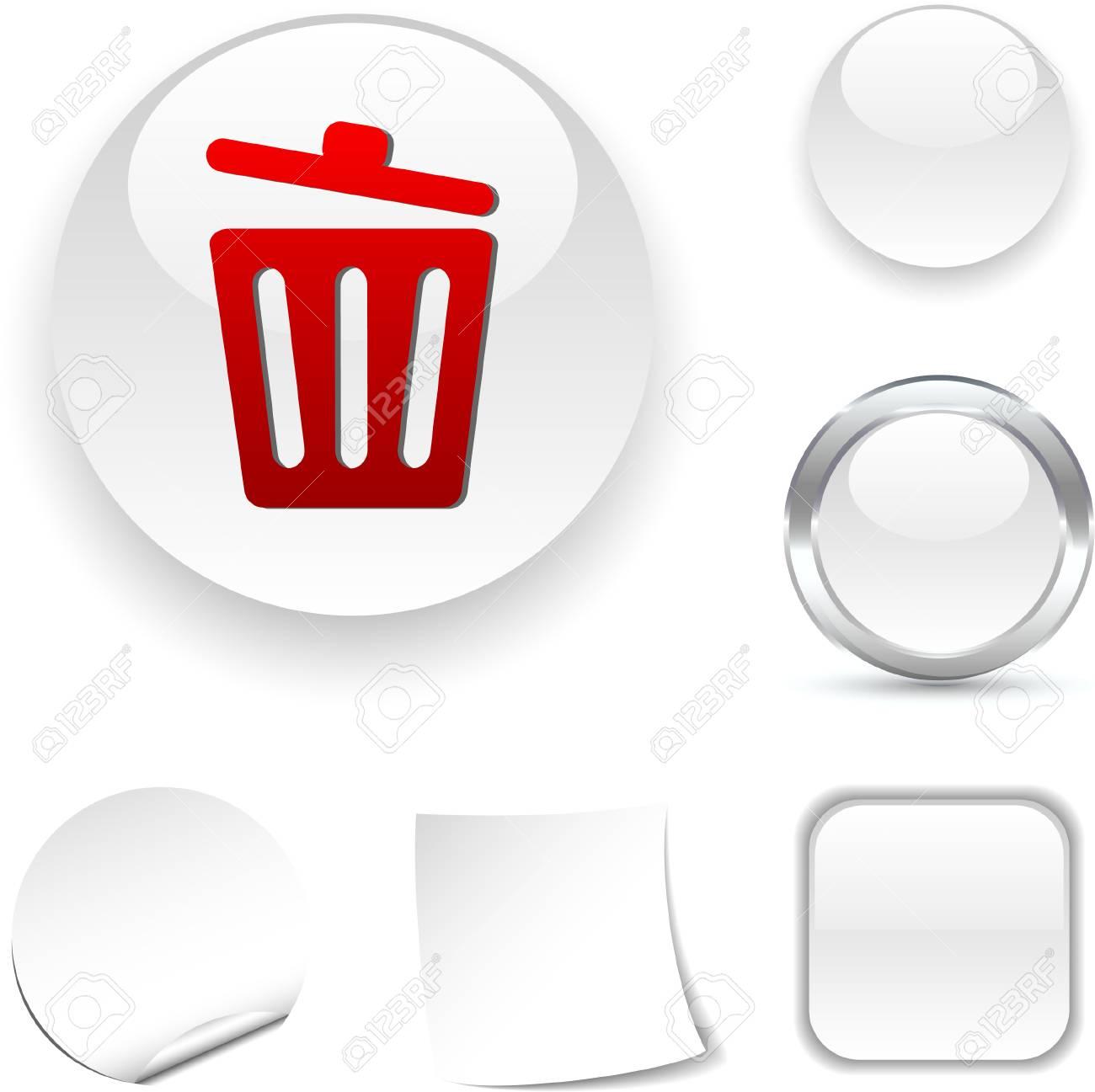 Recycle bin.  white icon. Vector illustration. Stock Vector - 5509033