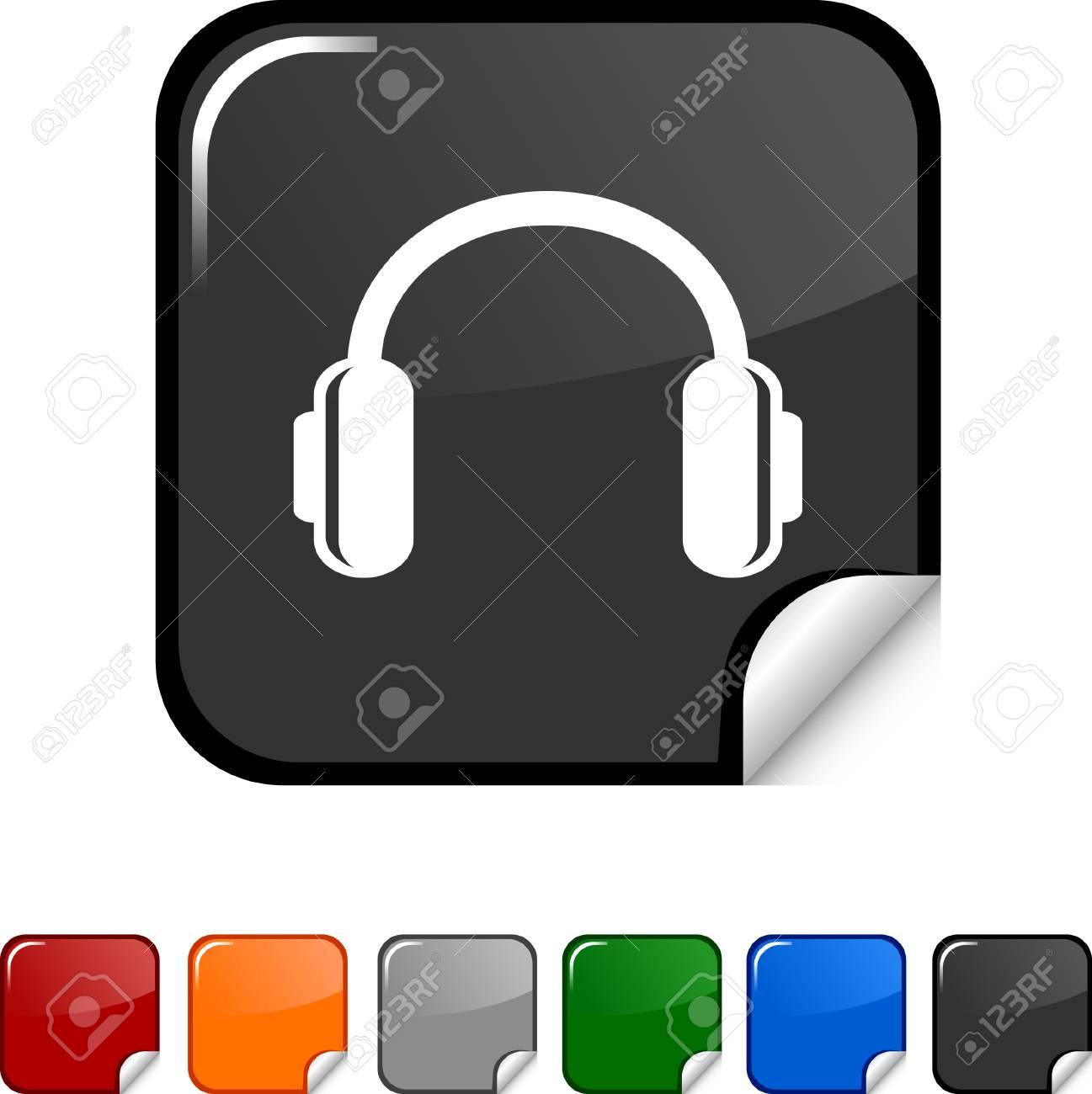 headphones  sticker icon. Vector illustration. Stock Vector - 5617889