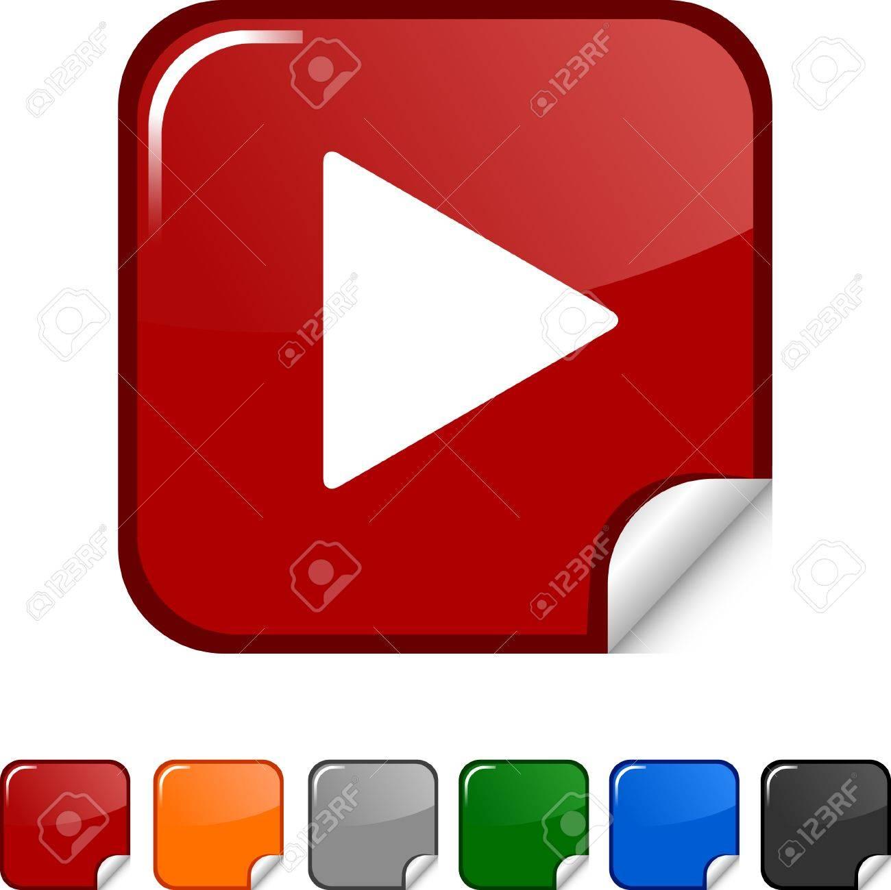 Play sticker icon. Vector illustration. Stock Vector - 5623014