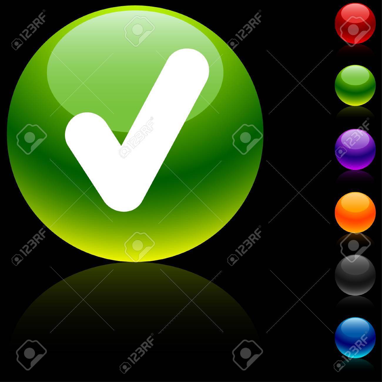 Check glossy icon. Vector illustration. Stock Vector - 5635419