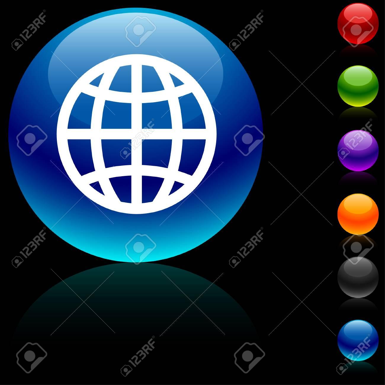 Earth  glossy icon. Stock Vector - 5662472