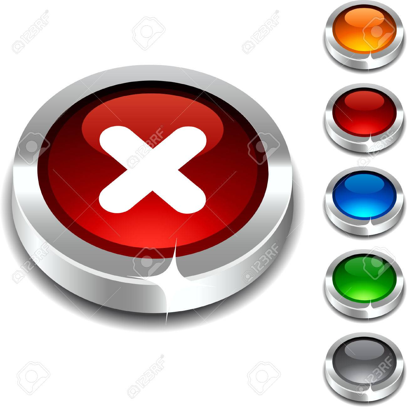 Cross  3d button set. illustration. Stock Vector - 5934329