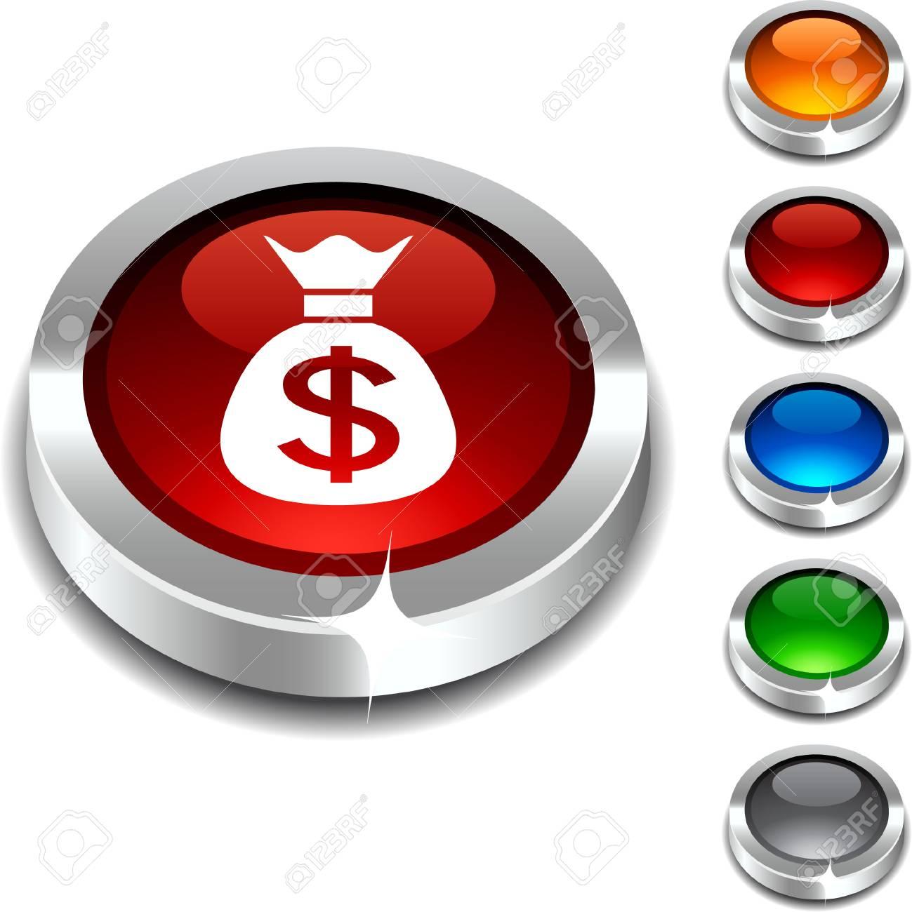 Money 3d button set. illustration. Stock Vector - 5934337