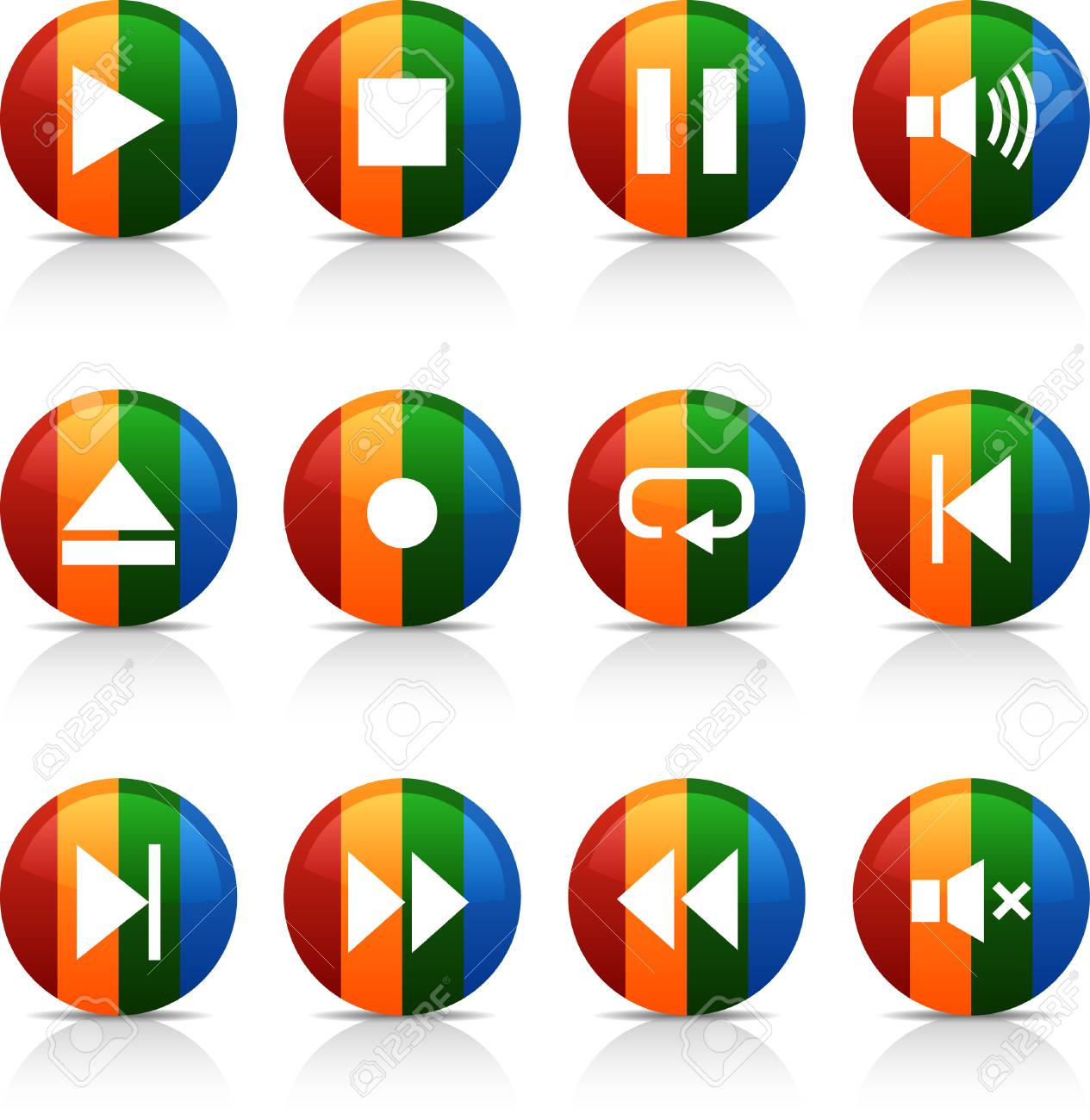 Player  button set. Vector illustration. Stock Vector - 6040077