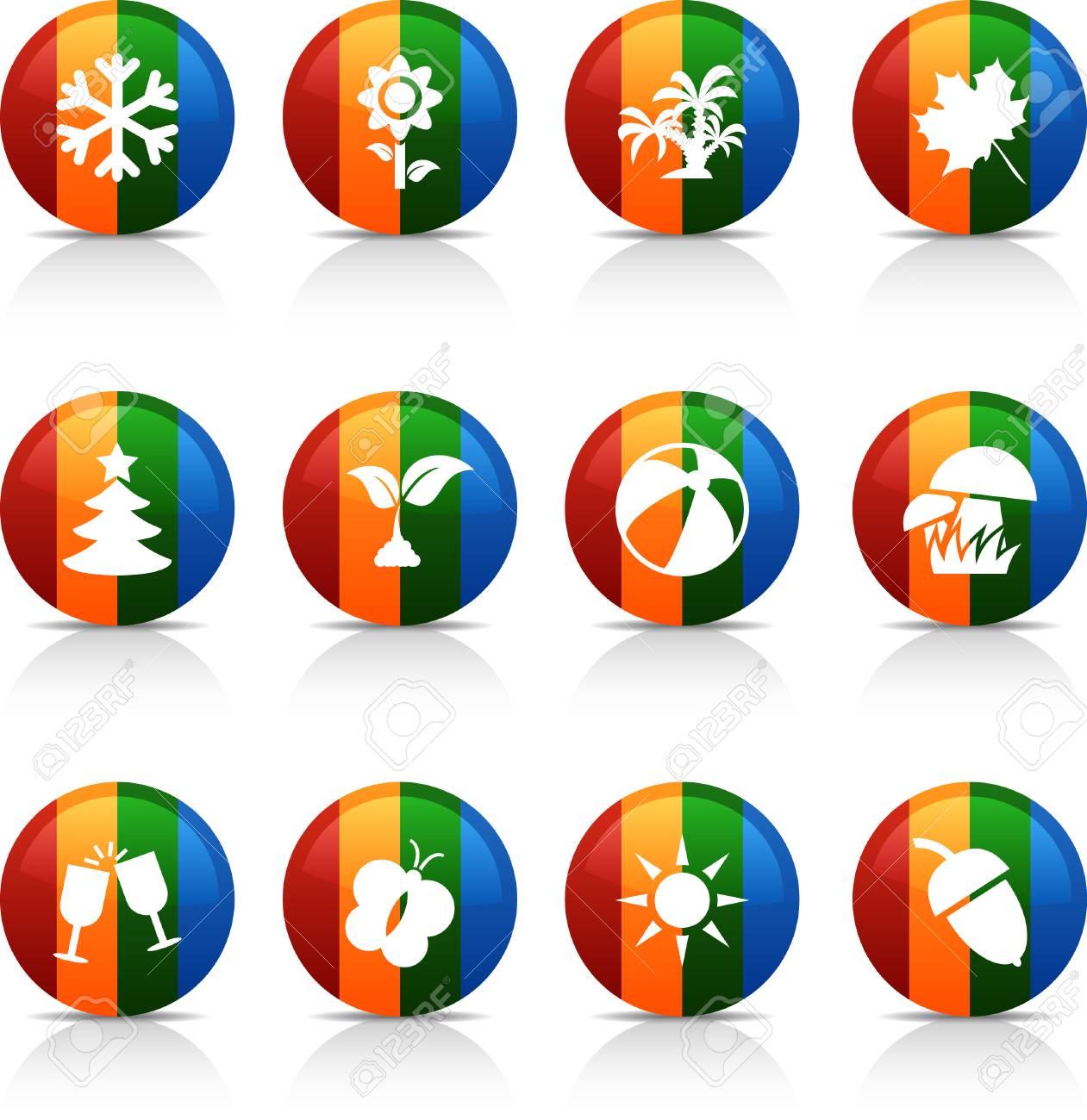 Seasons  button set. Vector illustration. Stock Vector - 6040082