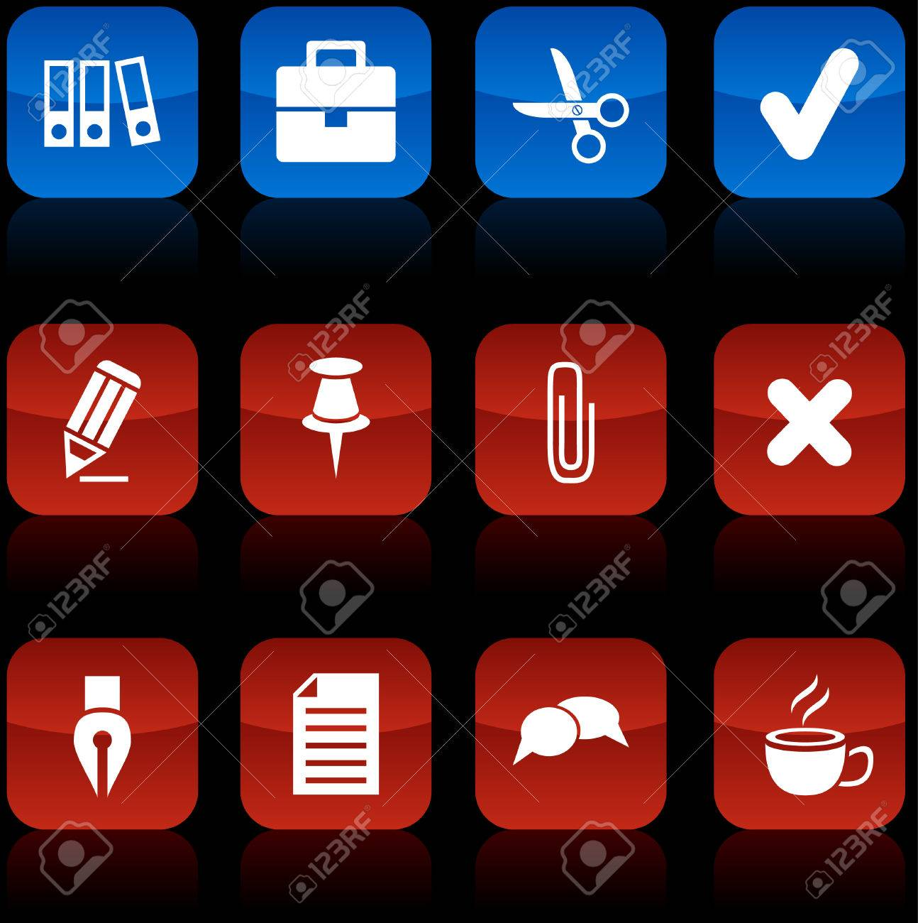 Office  button set. Vector illustration. Stock Vector - 6071057