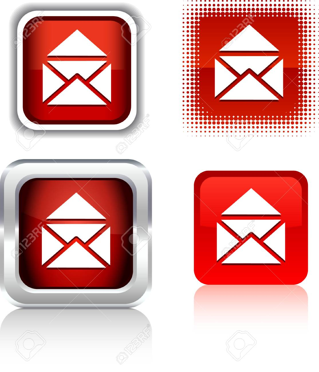 e-mail  square buttons. Vector illustration. Stock Vector - 6086022