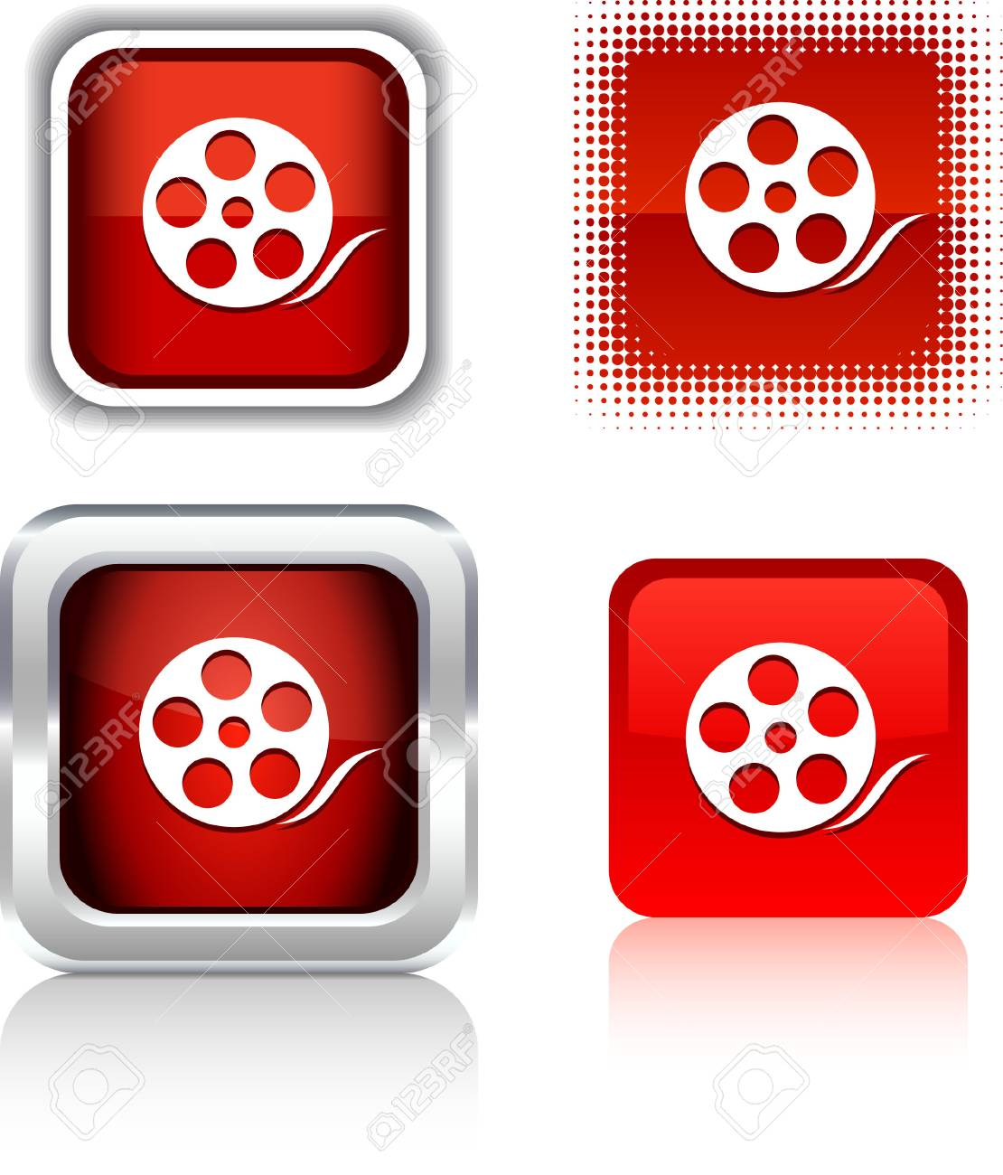 Media   square buttons. Vector illustration. Stock Vector - 6094356