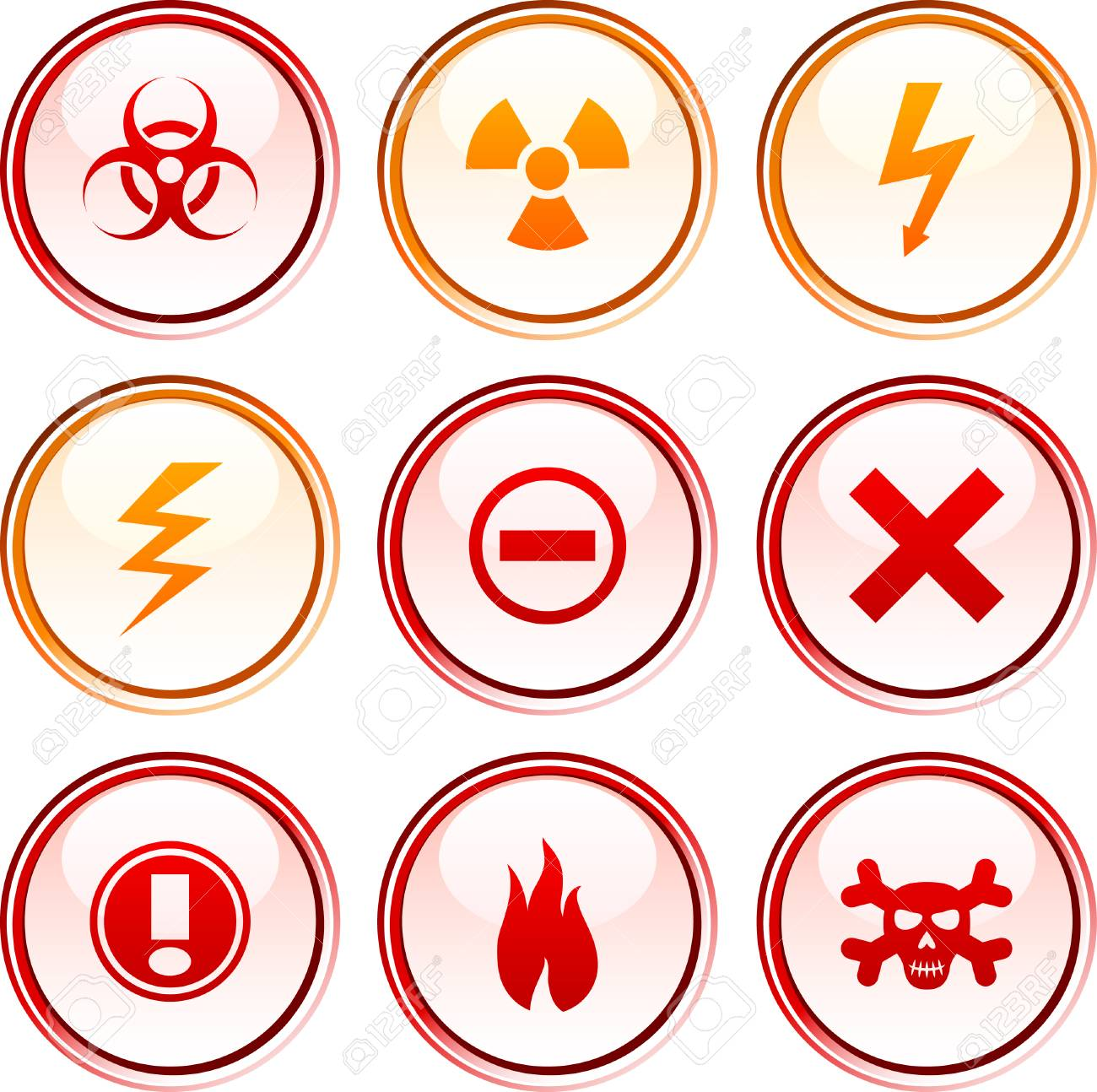 Warning  button set. Vector illustration. Stock Vector - 6122174