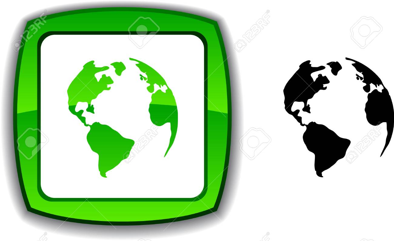Planet realistic button. illustration. Stock Vector - 6143351